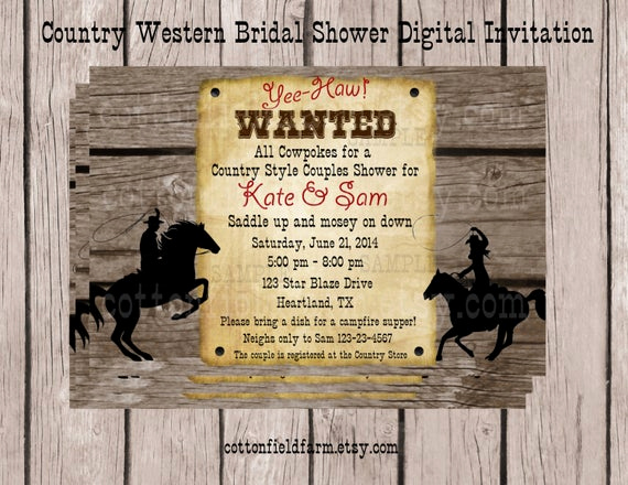 Western Party Invitation Templates Free Lovely Items Similar to Country Western Cowboy Cowgirl Digital