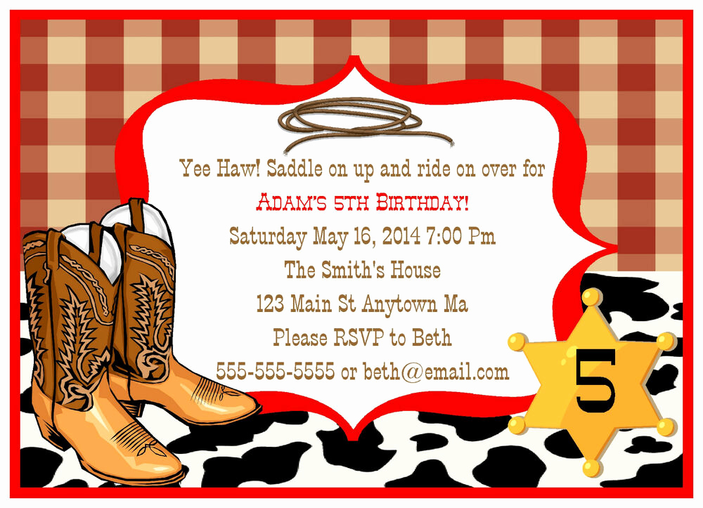 Western theme Invitation Templates Beautiful Cowboy Western Rodeo Horse Kids Digital Birthday Party