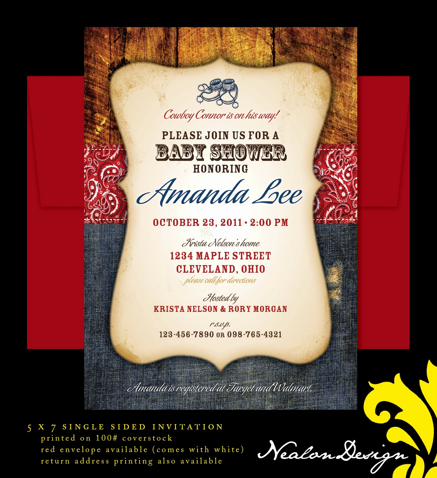Western theme Invitation Templates Beautiful Nealon Design Western Cowboy Baby Shower Invitation