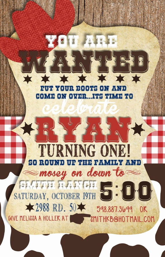 Western theme Invitation Templates Fresh Custom Cowboy Birthday Invitation