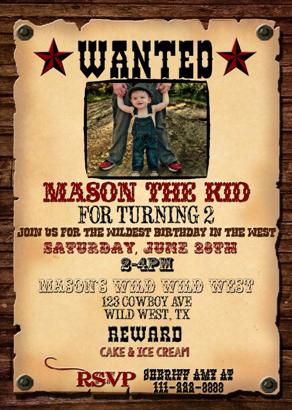 Western theme Invitation Templates New Wanted Poster Invitation Western Birthday Invitation