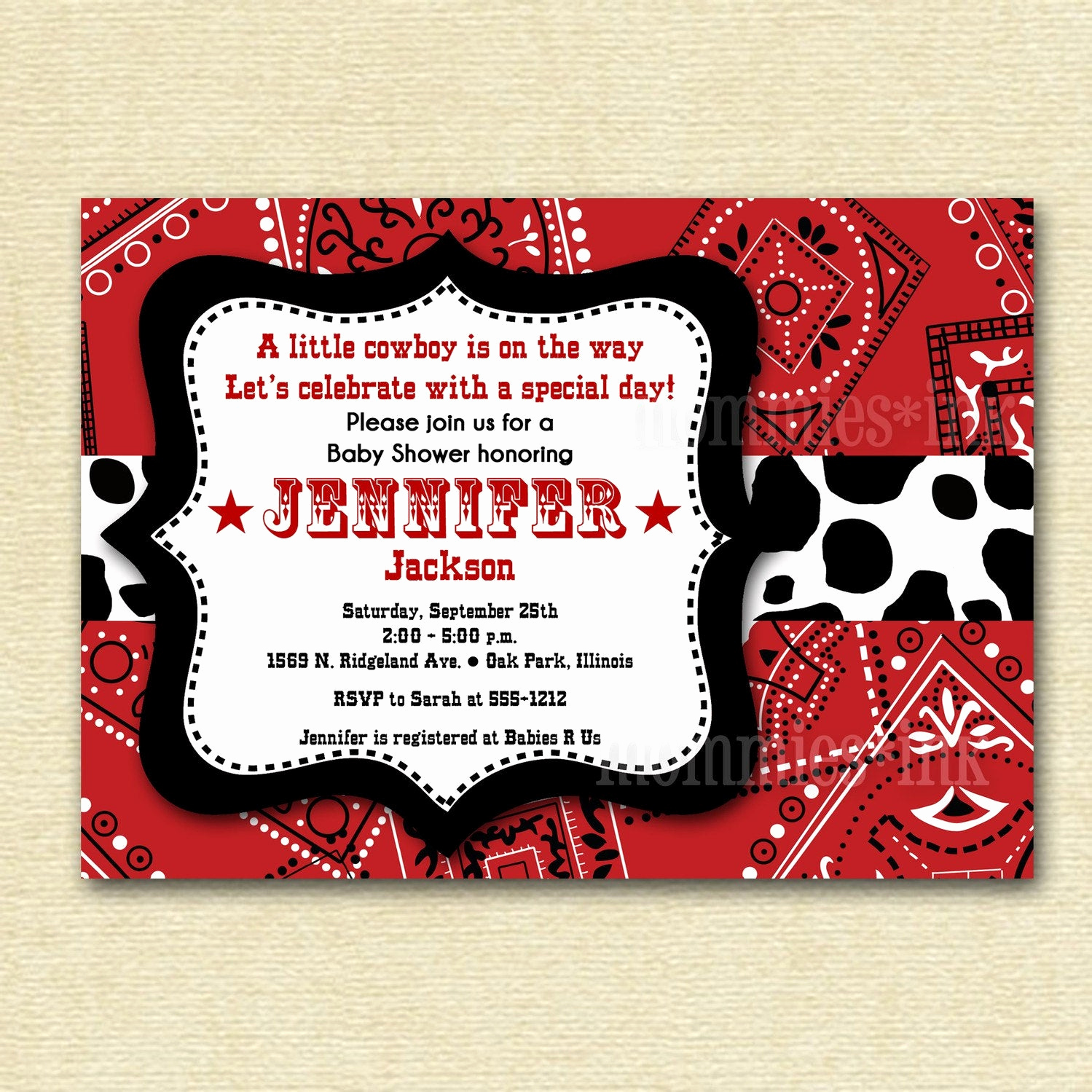 Western theme Party Invitation Template Awesome Baby Shower Invitation Bandana Invitation Bandana by