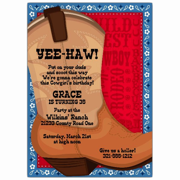 Western theme Party Invitation Template Awesome Big Brown Boot Western Invitations