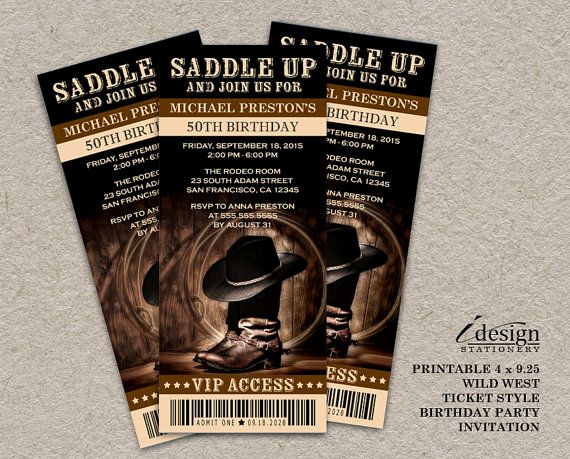 Western theme Party Invitation Template Beautiful Country & Western Wild West 50th Birthday Party Ticket