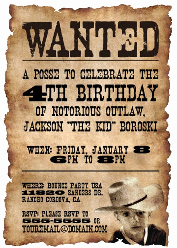 Western theme Party Invitation Template Best Of 20 5x7 Wanted Poster Western themed Birthday Party by