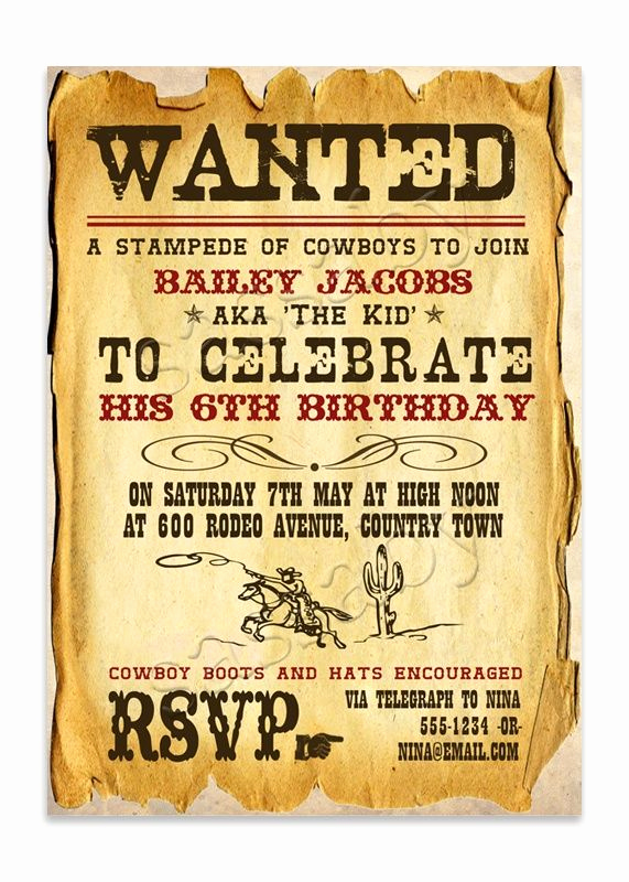 Western theme Party Invitation Template New 16 Best Images About Frontier On Pinterest