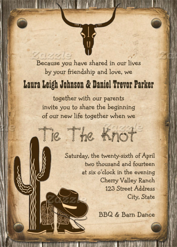 Western theme Party Invitation Template Unique 28 Western Wedding Invitation Templates – Free Sample