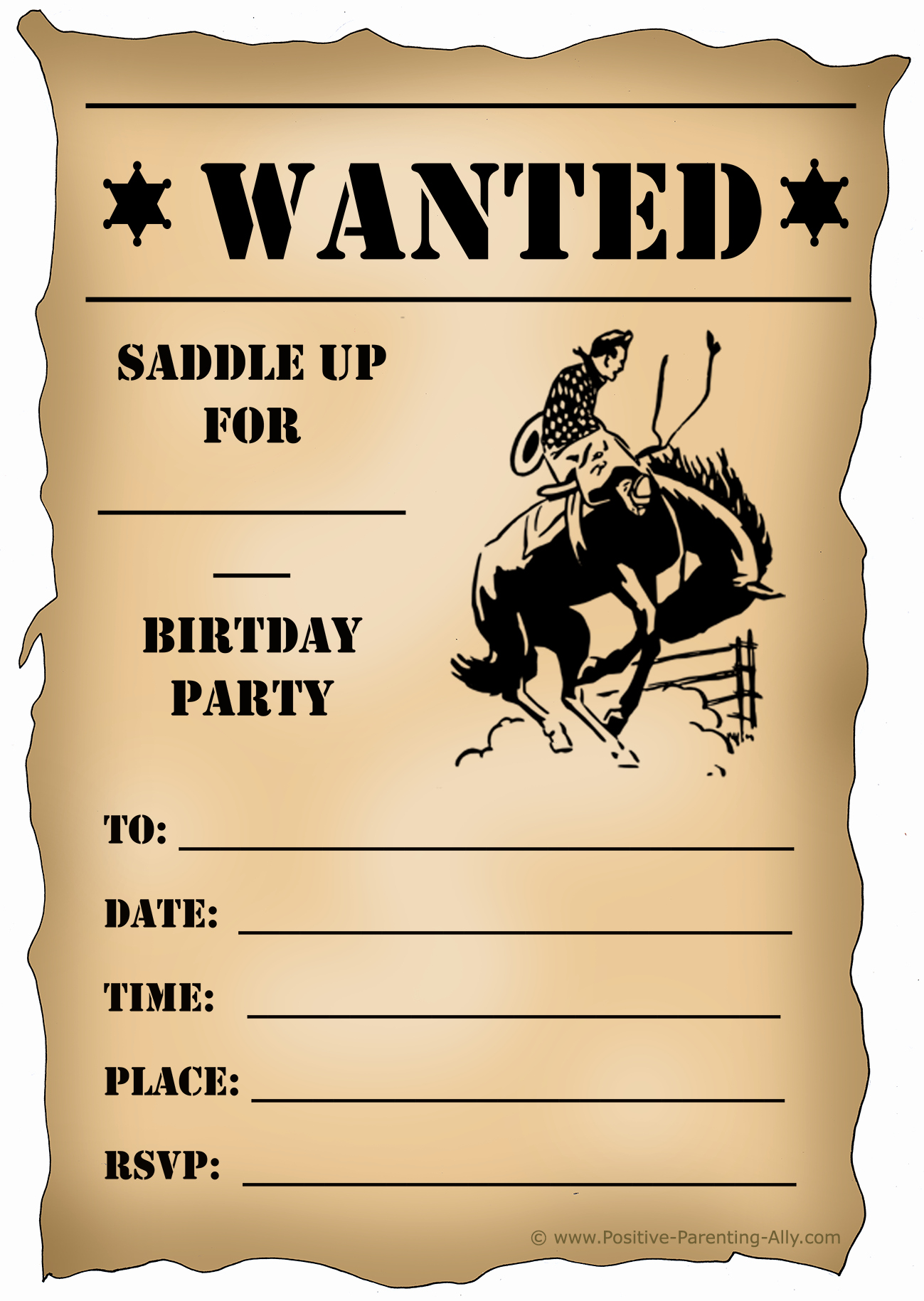 Western theme Party Invitation Template Unique Free Printable Birthday Party Invitations for Kids High
