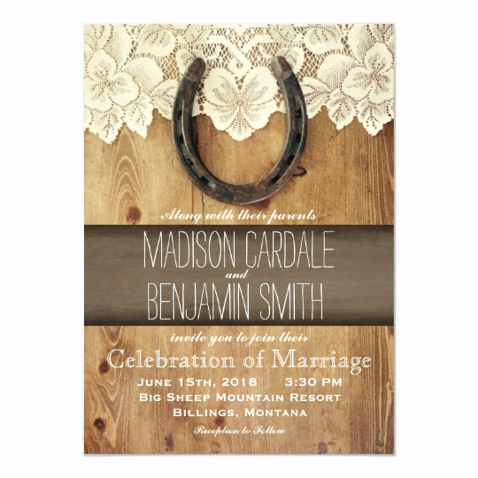 Western themed Invitation Templates Awesome Country Western Horseshoe Lace Wedding Invitations