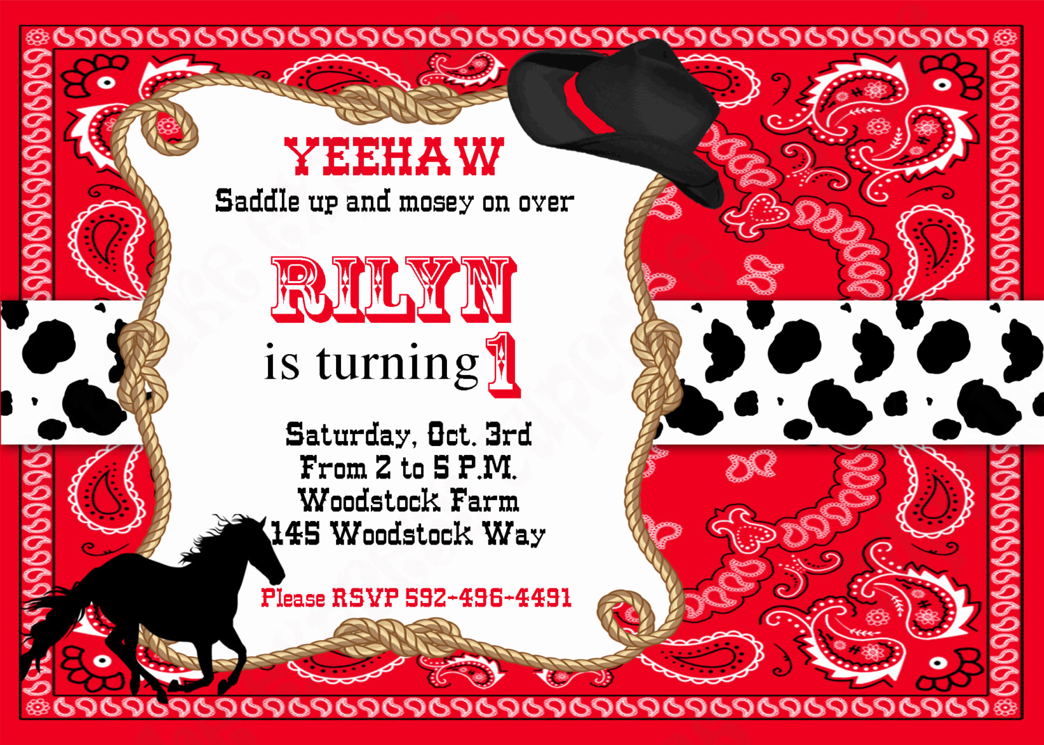 Western themed Invitation Templates Awesome Free Printable Cowboy Birthday Invitations