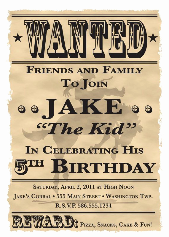 Western themed Invitation Templates Awesome Wanted Poster Cowboy Western theme Birthday Party