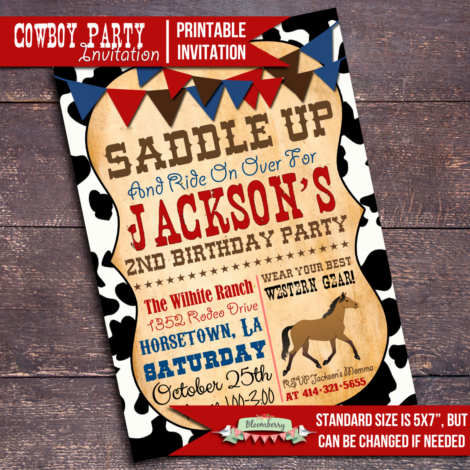 Western themed Invitation Templates Best Of Printable Cowboy Party Invitation Western by Bloomberrydesigns