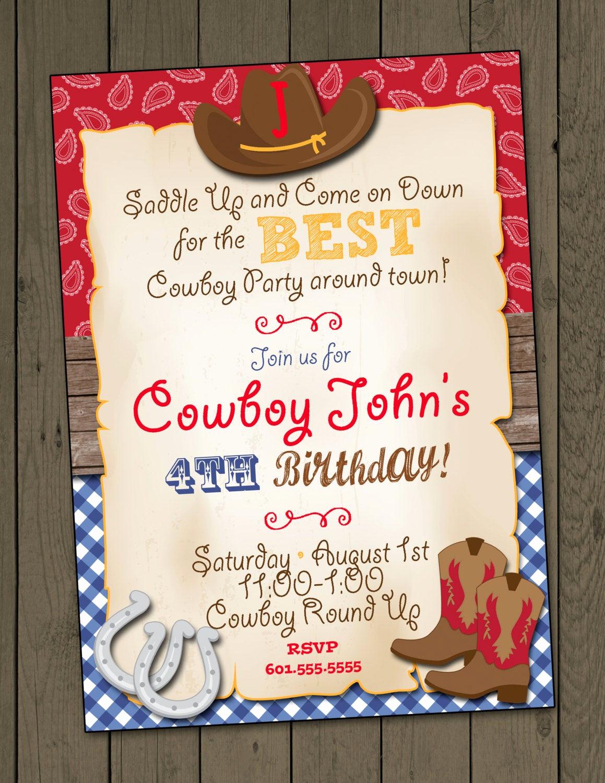 Western themed Invitation Templates Elegant Cowboy Birthday Party Invitation Cowboy Invitation Digital