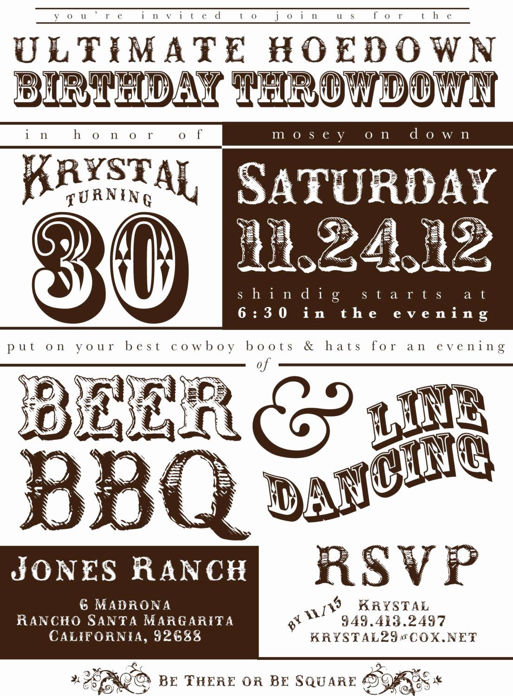 Western themed Invitation Templates Elegant Printable Western Hoedown Birthday Invitation