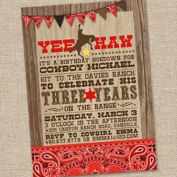 Western themed Invitation Templates Elegant Yee Haw Western Cowboy Invitation Printable Cowboy