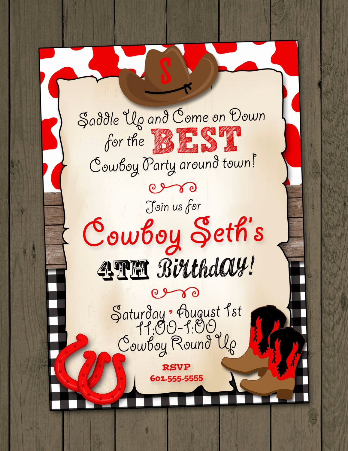 Western themed Invitation Templates Lovely Cowboy Birthday Party Invitation Cowboy Invitation Digital