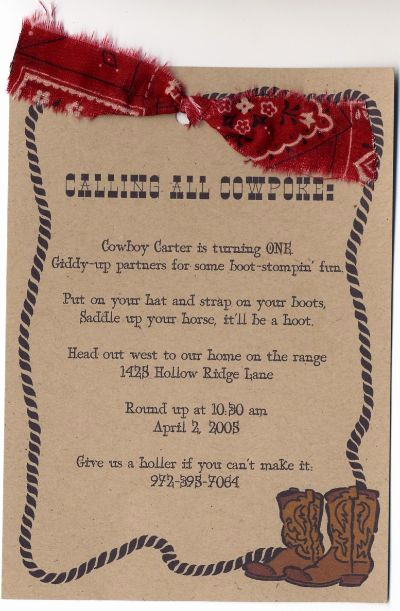 Western themed Invitation Templates Lovely Wild West Singalong Love the Bandana