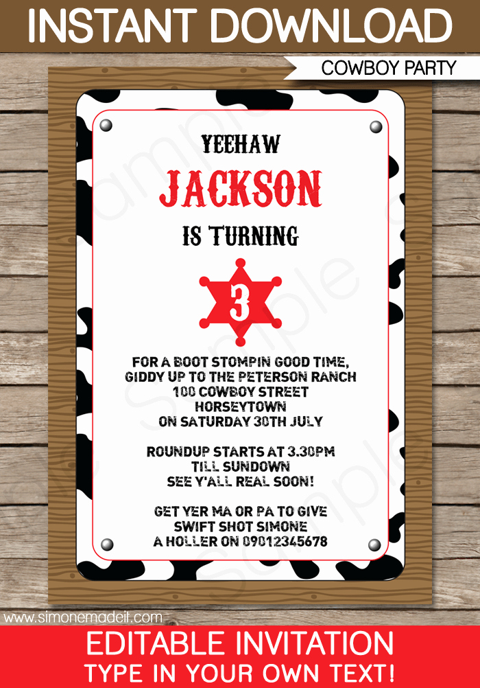 Western themed Invitation Templates Luxury Cowboy Party Invitations Template