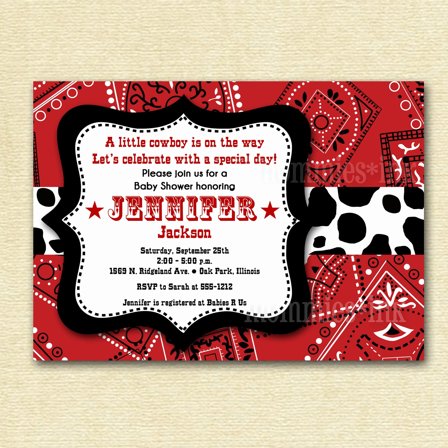Western themed Invitation Templates New Baby Shower Invitation Bandana Invitation Bandana by