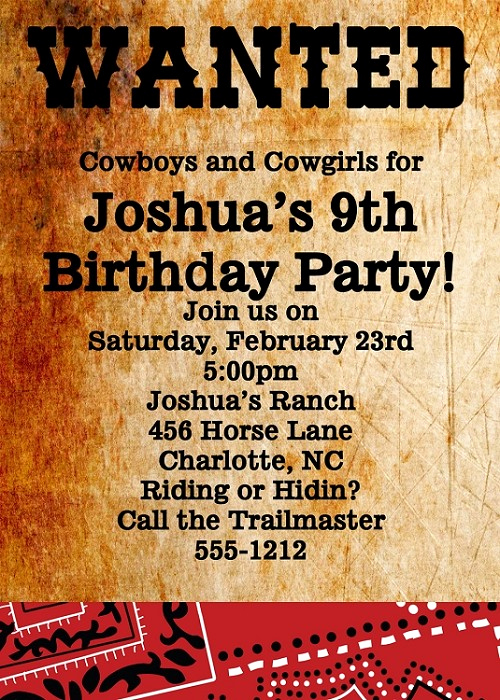 Western themed Invitation Templates Unique Wanted Poster Invitations
