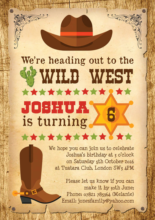 Western themed Invitation Wording Awesome Cowboy Wild West Birthday Party Invitation From £0 80 Each