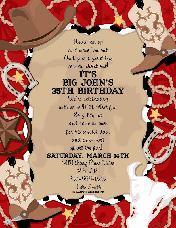 Western themed Invitation Wording Awesome Western Party Printable Blank Invitations