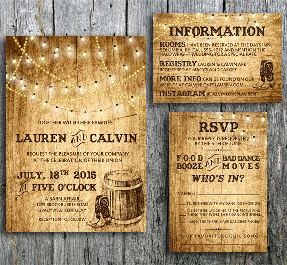 Western themed Invitation Wording Beautiful Country Wedding Invitation Suite with Lights and Cowboy