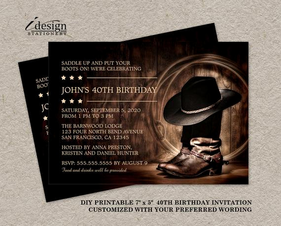 Western themed Invitation Wording Best Of Country Western 40th Birthday Party Invitation with Cowboy