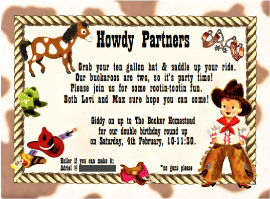 Western themed Invitation Wording Best Of Kids Cowboy Birthday Party