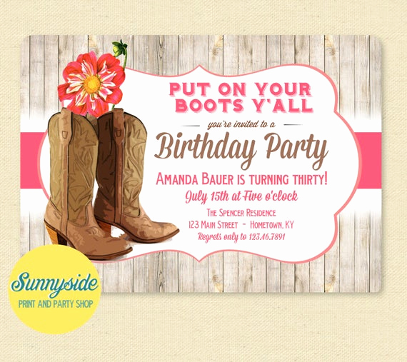 Western themed Invitation Wording Best Of Western Boots Birthday Party Invitation with Pink Dahlia