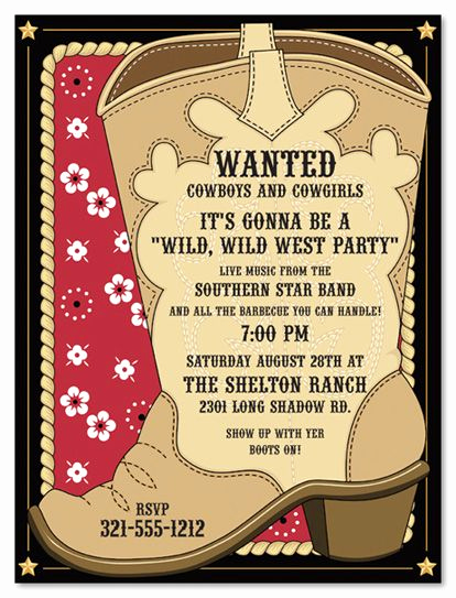 Western themed Invitation Wording Inspirational Cowboy Invitations Template