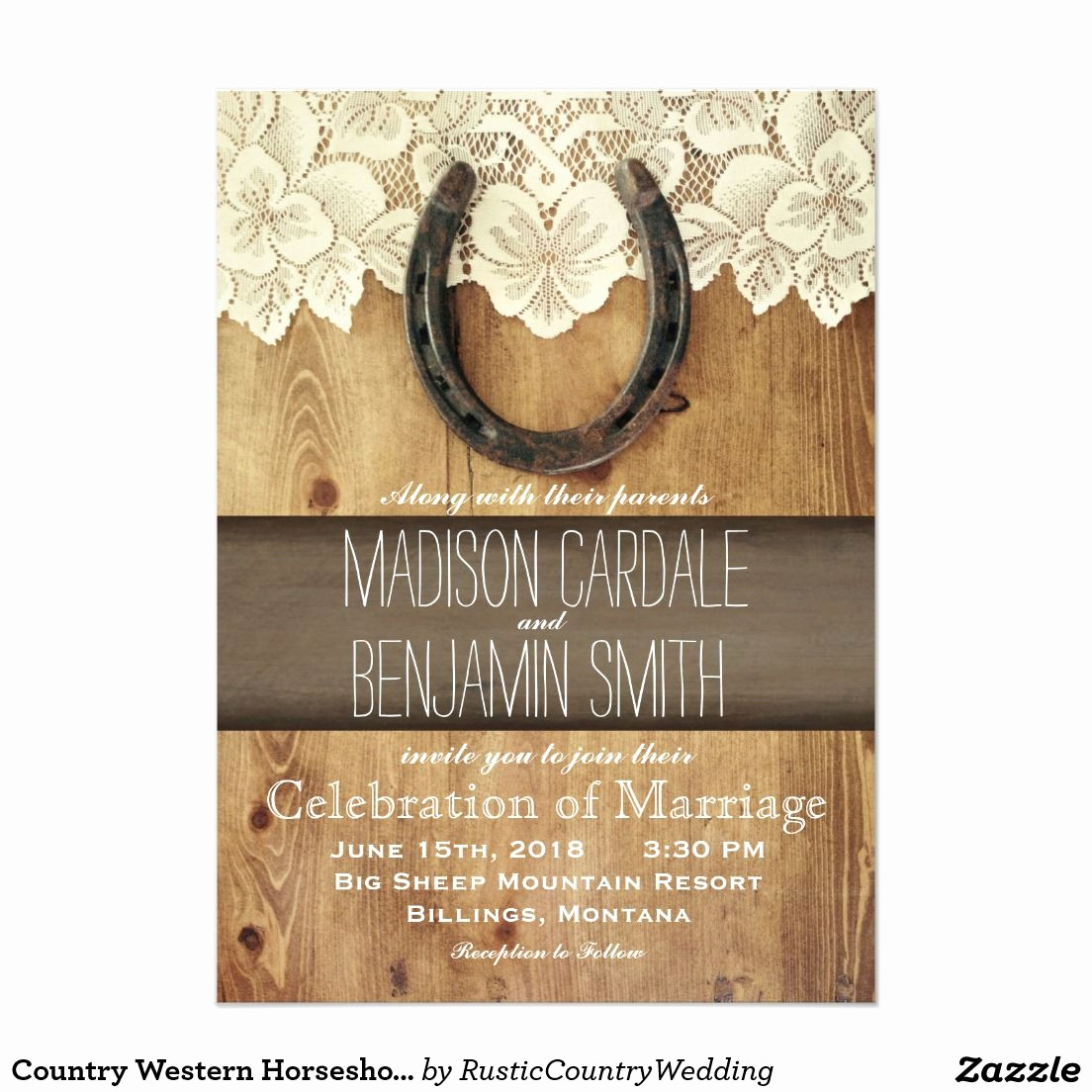 Western themed Invitation Wording New Country Western Horseshoe Lace Wedding Invitations