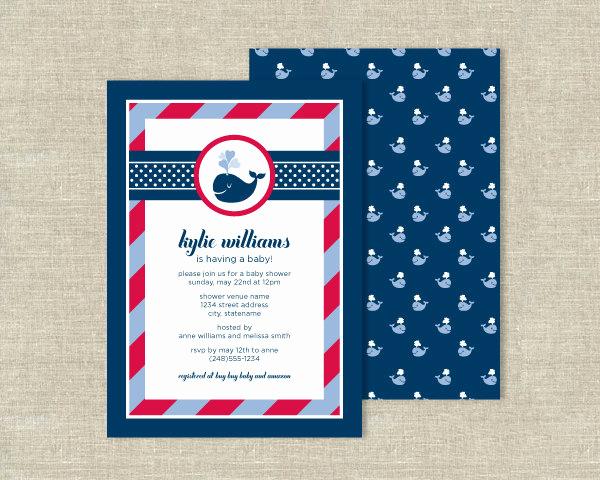 Whale Baby Shower Invitation Elegant Items Similar to Navy Blue Whale Baby Shower Invitations