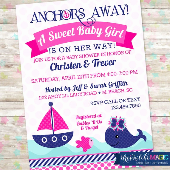 Whale Baby Shower Invitation Inspirational Girl Nautical Whale Baby Shower Invitation Whale Baby