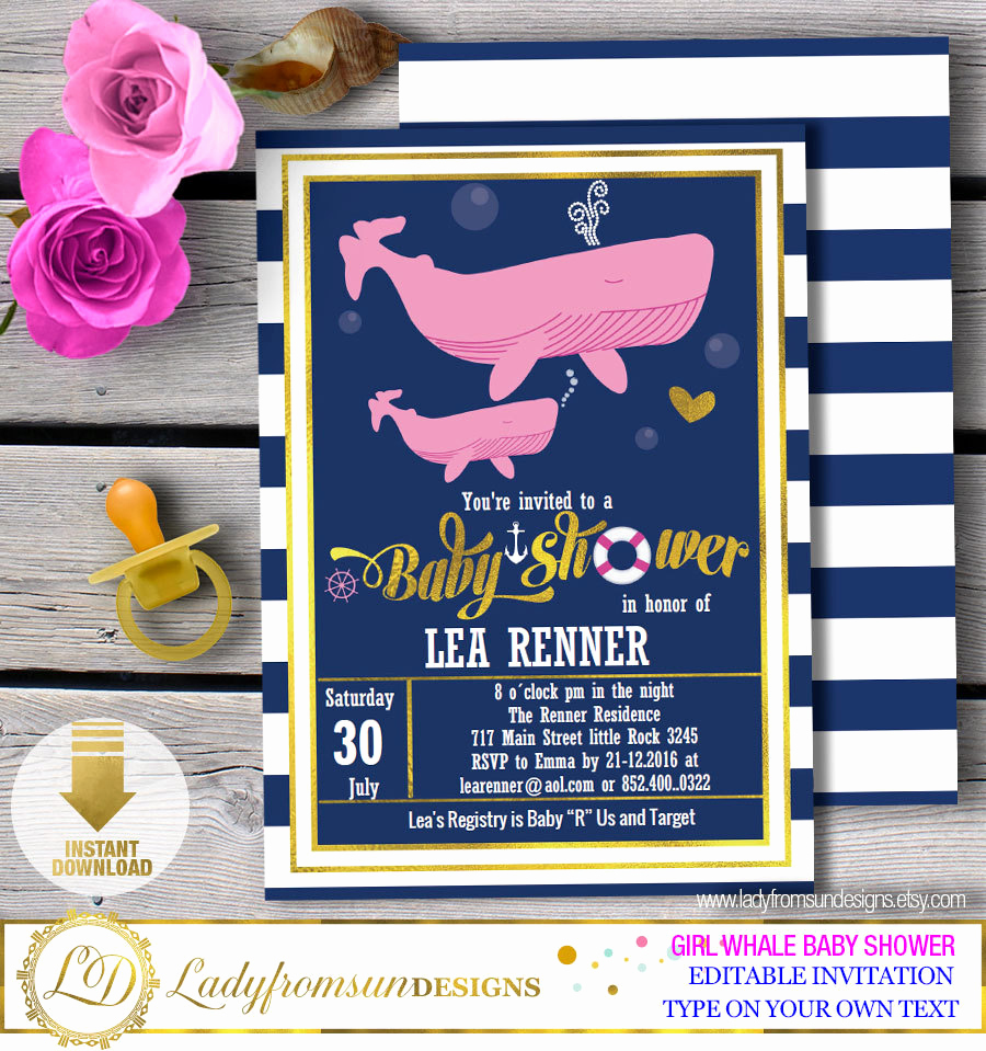 Whale Baby Shower Invitation Luxury Girl Whale Baby Shower Whale Baby Shower Invites Whale