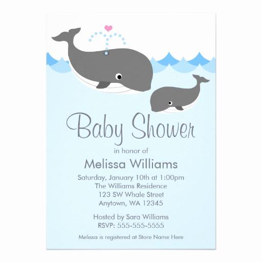 "Whale Baby Shower Invitation Luxury Sweet Whale Baby Shower Invitations 5"" X 7"" Invitation"
