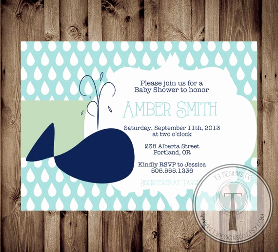 Whale Baby Shower Invitation New Baby Shower Invitation Whale Baby Shower Invitation Whale