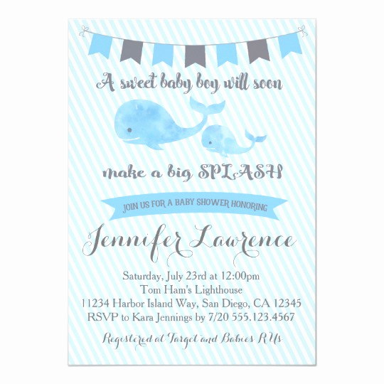 Whale Baby Shower Invitation New Whale Baby Shower Invitation