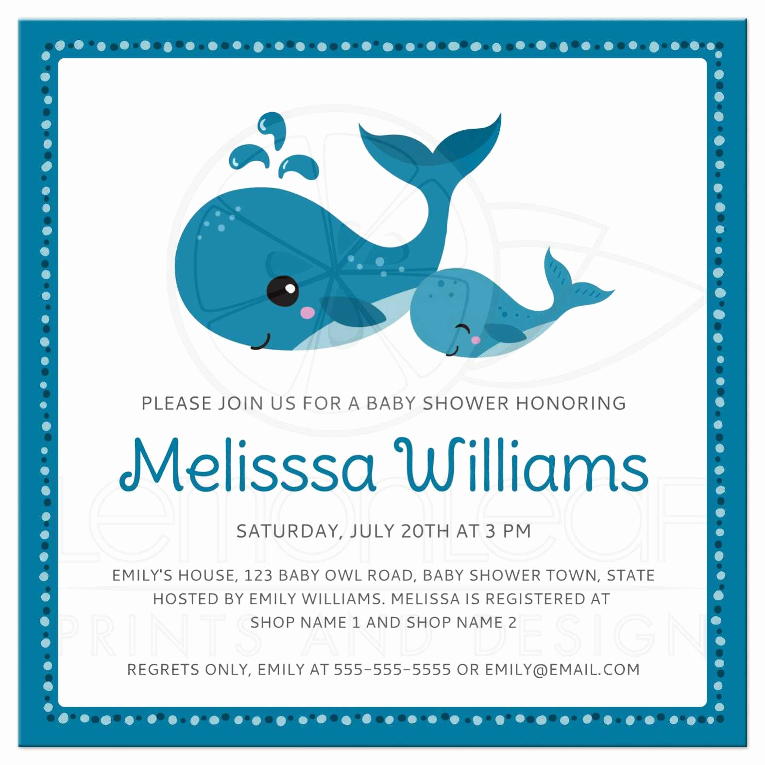 Whale Baby Shower Invitation Template Best Of Mommy and Baby Whales Cute Baby Shower Invitation