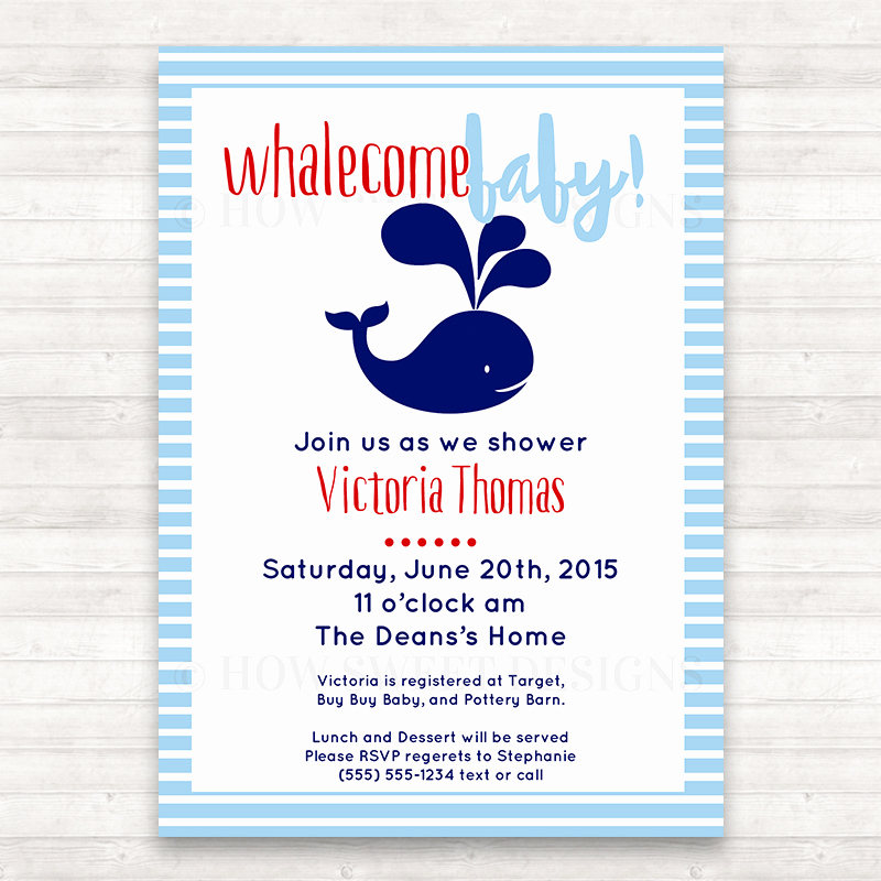 Whale Baby Shower Invitation Template Best Of Whale Baby Shower Invitation How Sweet Designs