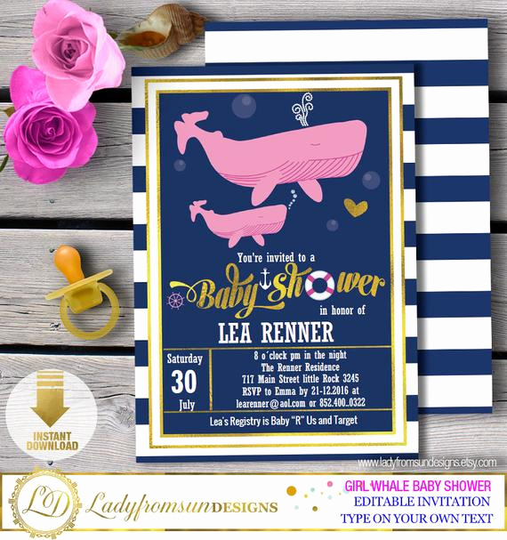 Whale Baby Shower Invitation Template Elegant Girl Whale Baby Shower Whale Baby Shower Invites Whale