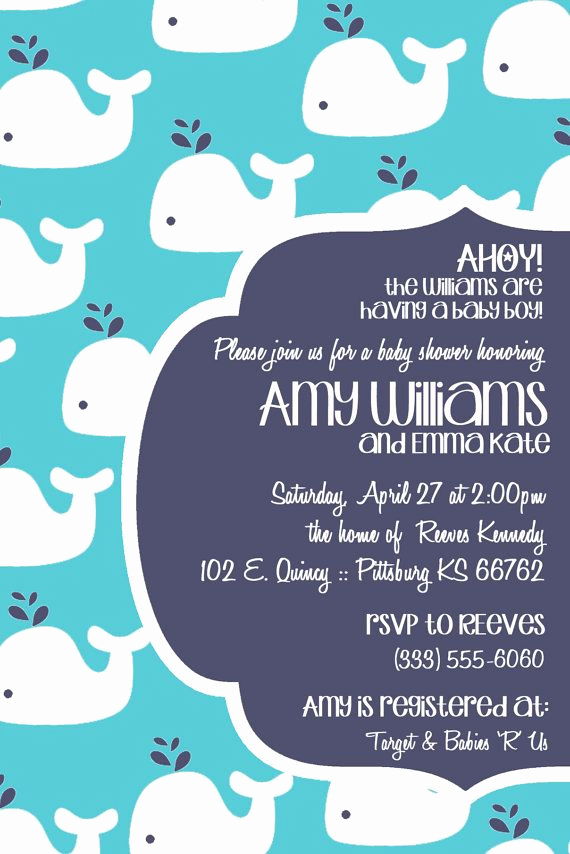 Whale Baby Shower Invitation Template Fresh Modern Whale Baby Shower Invitation Multiple Color