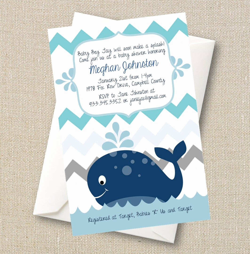 Whale Baby Shower Invitation Template Lovely Whale Baby Shower Invitation A Splash Of Boy Blue Chevron