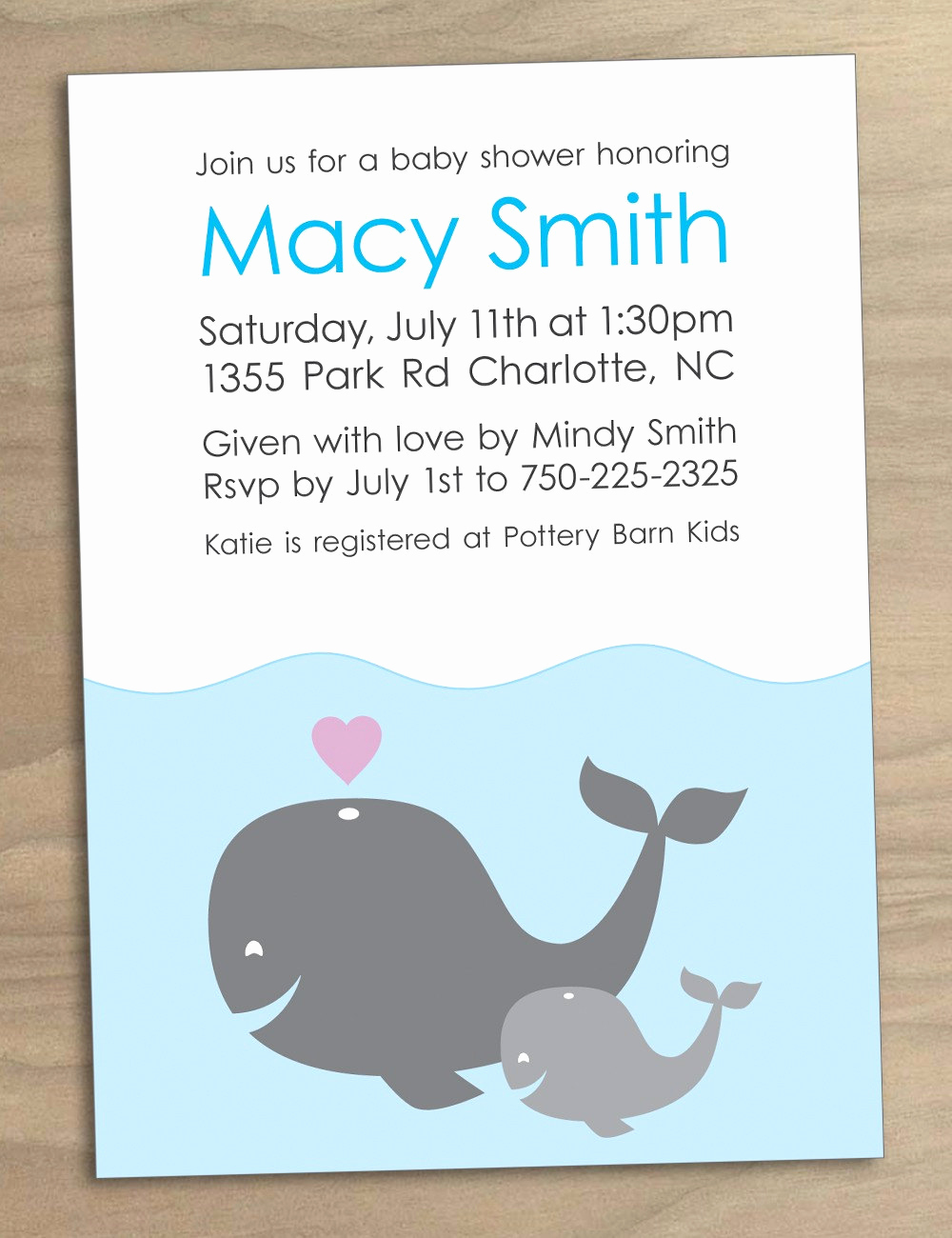 Whale Baby Shower Invitation Template Lovely Whales Baby Shower Invitation Printable Custom by