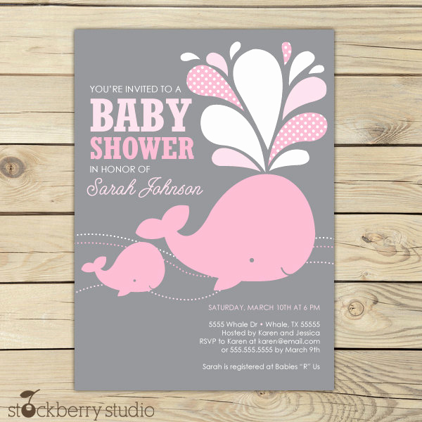 Whale Baby Shower Invitation Template Luxury Girl Whale Baby Shower Invitation Printable by
