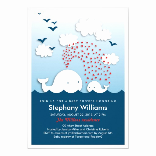 "Whale Baby Shower Invitation Template New Cute White Whales Stylish Baby Shower Invite 5"" X 7"