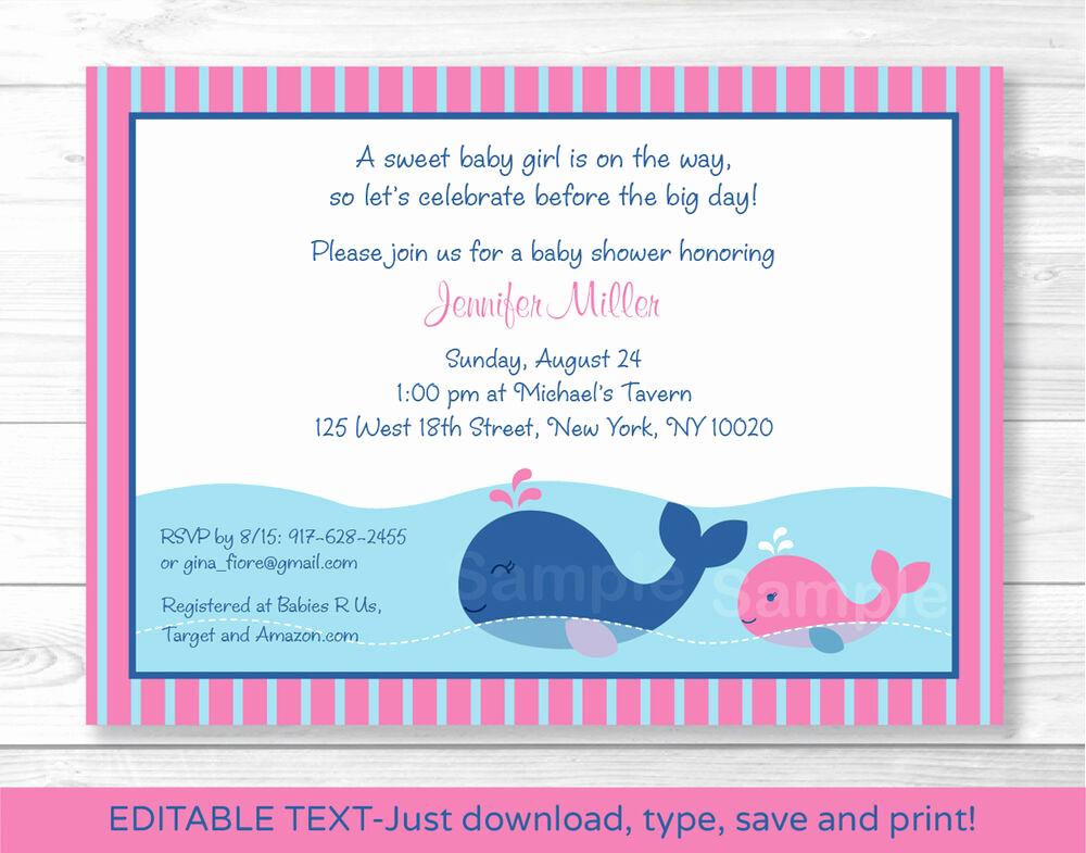 Whale Baby Shower Invitation Unique Lil Pink Whale Baby Shower Invitation Editable Pdf