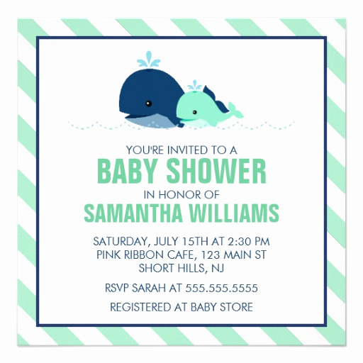 Whale Baby Shower Invitation Unique Mom and Baby Whale Baby Shower Green Invitations