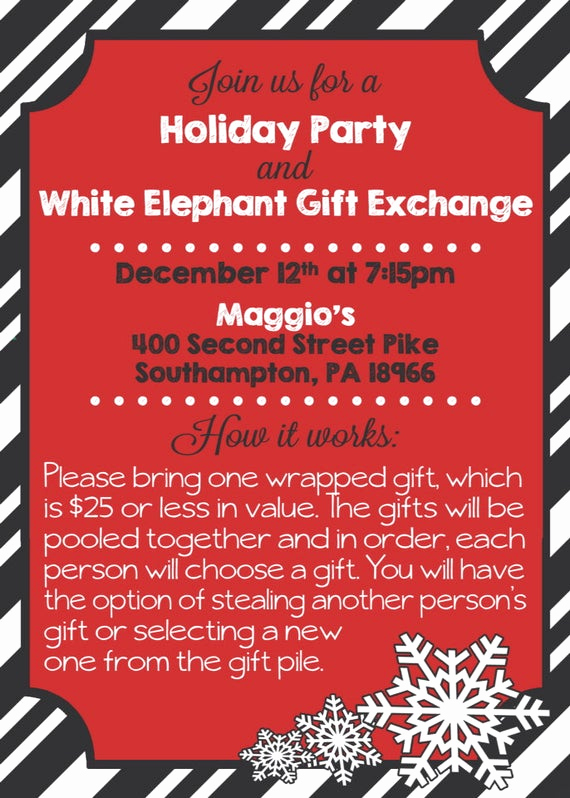 White Elephant Gift Exchange Invitation Awesome Items Similar to Printable Holiday Party & White Elephant