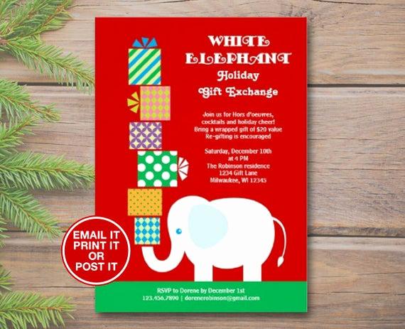 White Elephant Gift Exchange Invitation Awesome Items Similar to White Elephant Holiday Gift Exchange
